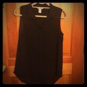 H&M Black Sheer Sleeveless Top